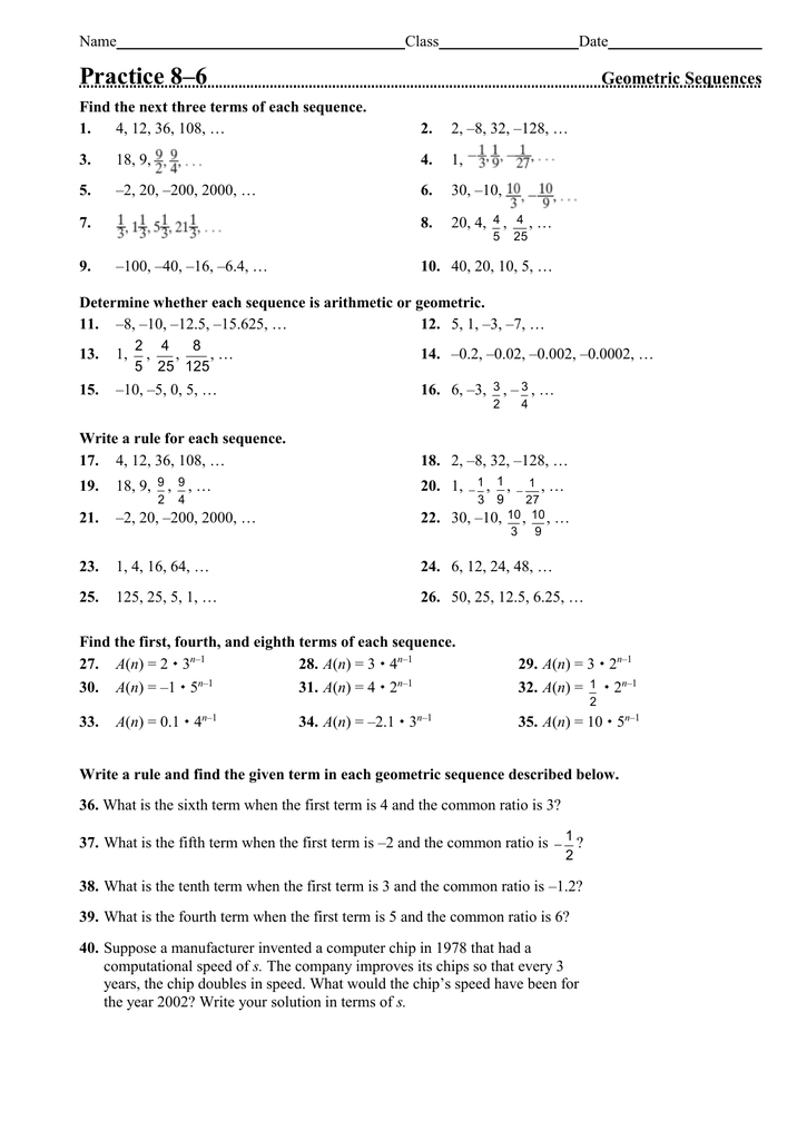 Practice 8–6 Geometric Sequences