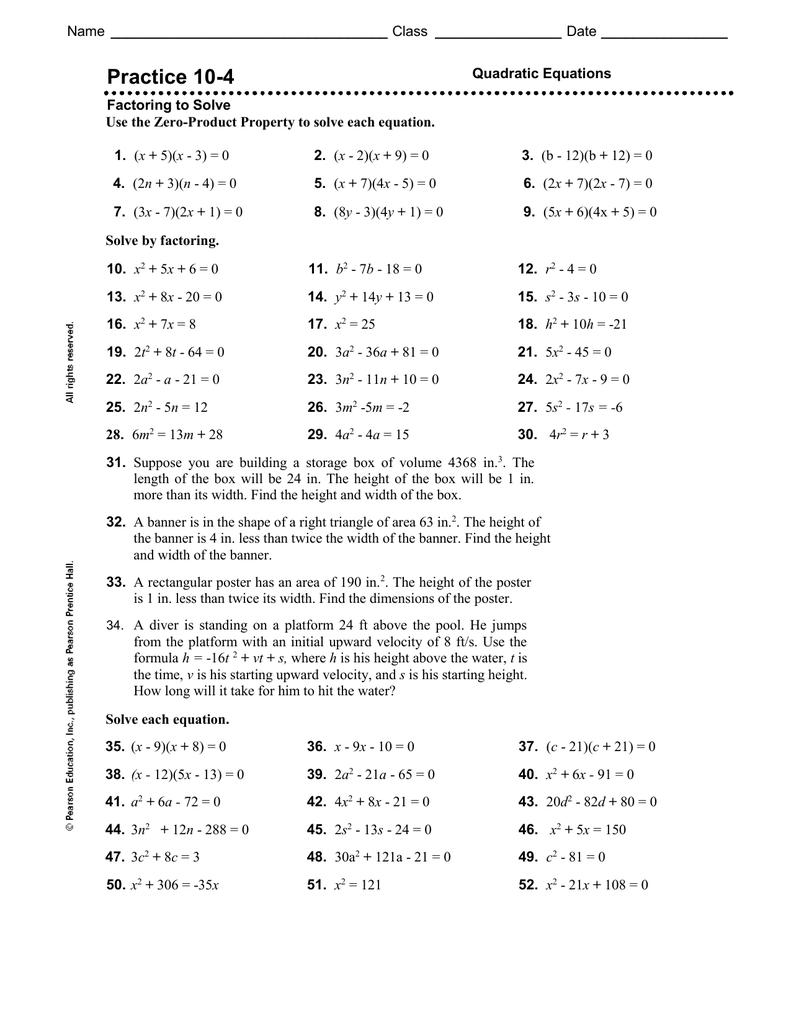 Factoring To Solve Quadratic Equations Practice 10 5 Tessshebaylo [ 1024 x 791 Pixel ]