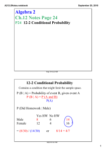 Algebra 2 Ch.12 Notes Page 24 12­2 Conditional Probability P24