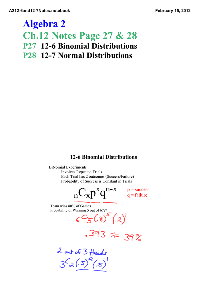 Algebra 2 Ch 12 Notes Page 27 &