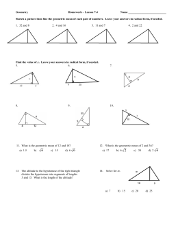 Geometry  Homework – Lesson 7.4 Name __________________________