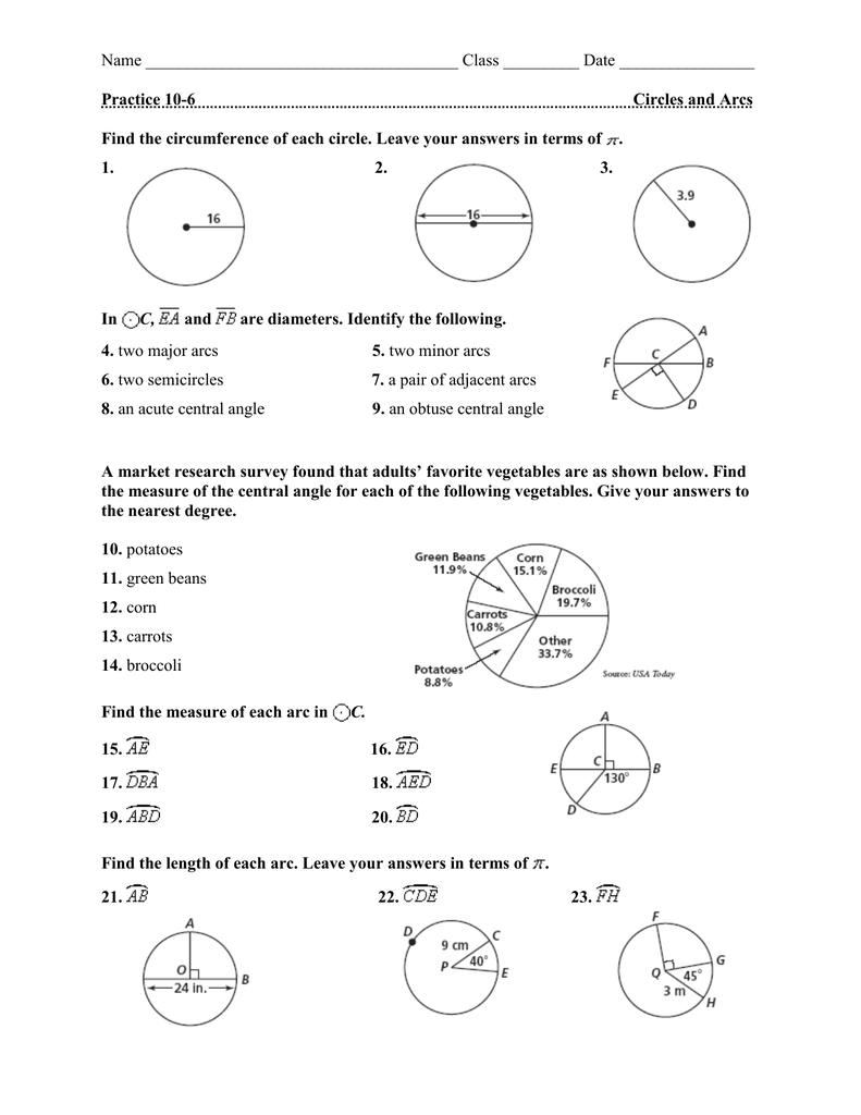 Name Class ______ Date Practice 10-6 Circles and Arcs