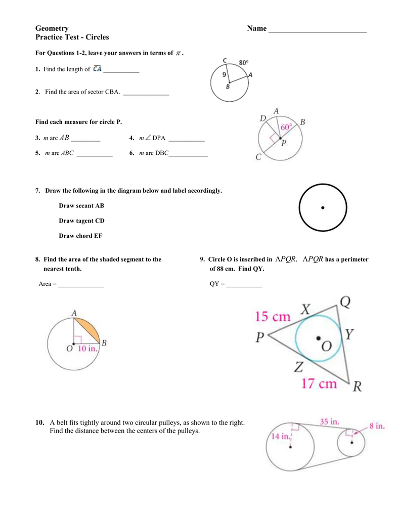 Bestseller: Geometry Circles Test Answers