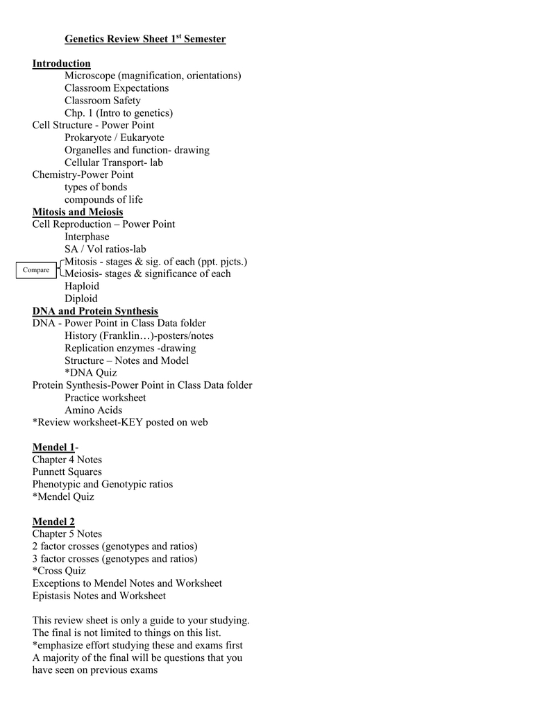 Genetics Review Sheet 1 Semester Introduction
