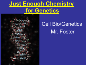 Just Enough Chemistry for Genetics Cell Bio/Genetics Mr. Foster