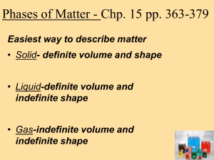 Phases of Matter - Chp. 15 pp. 363-379 indefinite shape