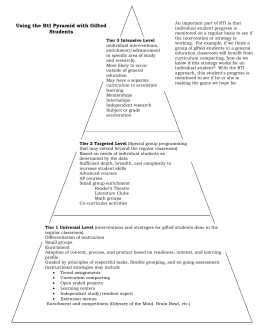 Using the RtI Pyramid with Gifted Students