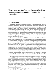 Experiences with Current Account Deficits Among Asian Economies: Lessons for Australia? 1.