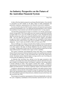 An Industry Perspective on the Future of the Australian Financial System