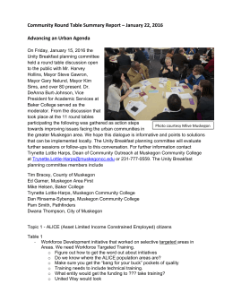 Community Round Table Summary Report – January 22, 2016    Advancing an Urban Agenda