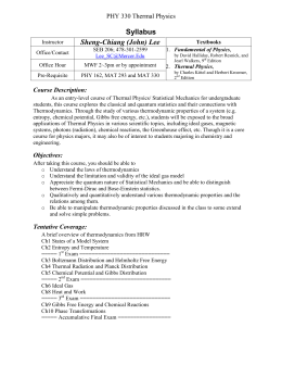 Syllabus Sheng-Chiang (John) Lee PHY 330 Thermal Physics