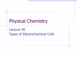 Physical Chemistry Lecture 40 Types of Electrochemical Cells