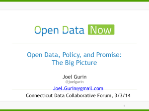 Open Data, Policy, and Promise: The Big Picture