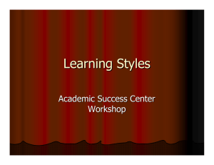 Learning Styles Academic Success Center Workshop