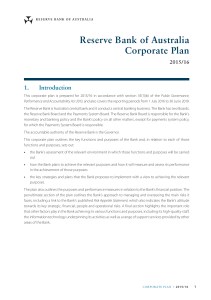 Reserve Bank of Australia Corporate Plan 1. Introduction 2015/16