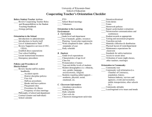 Cooperating Teacher's Orientation Checklist University of Wisconsin-Stout School of Education