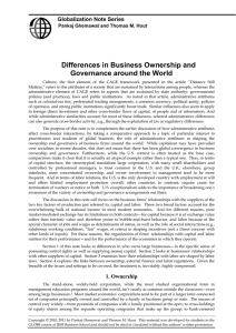 Differences in Business Ownership and Governance around the World Globalization Note Series