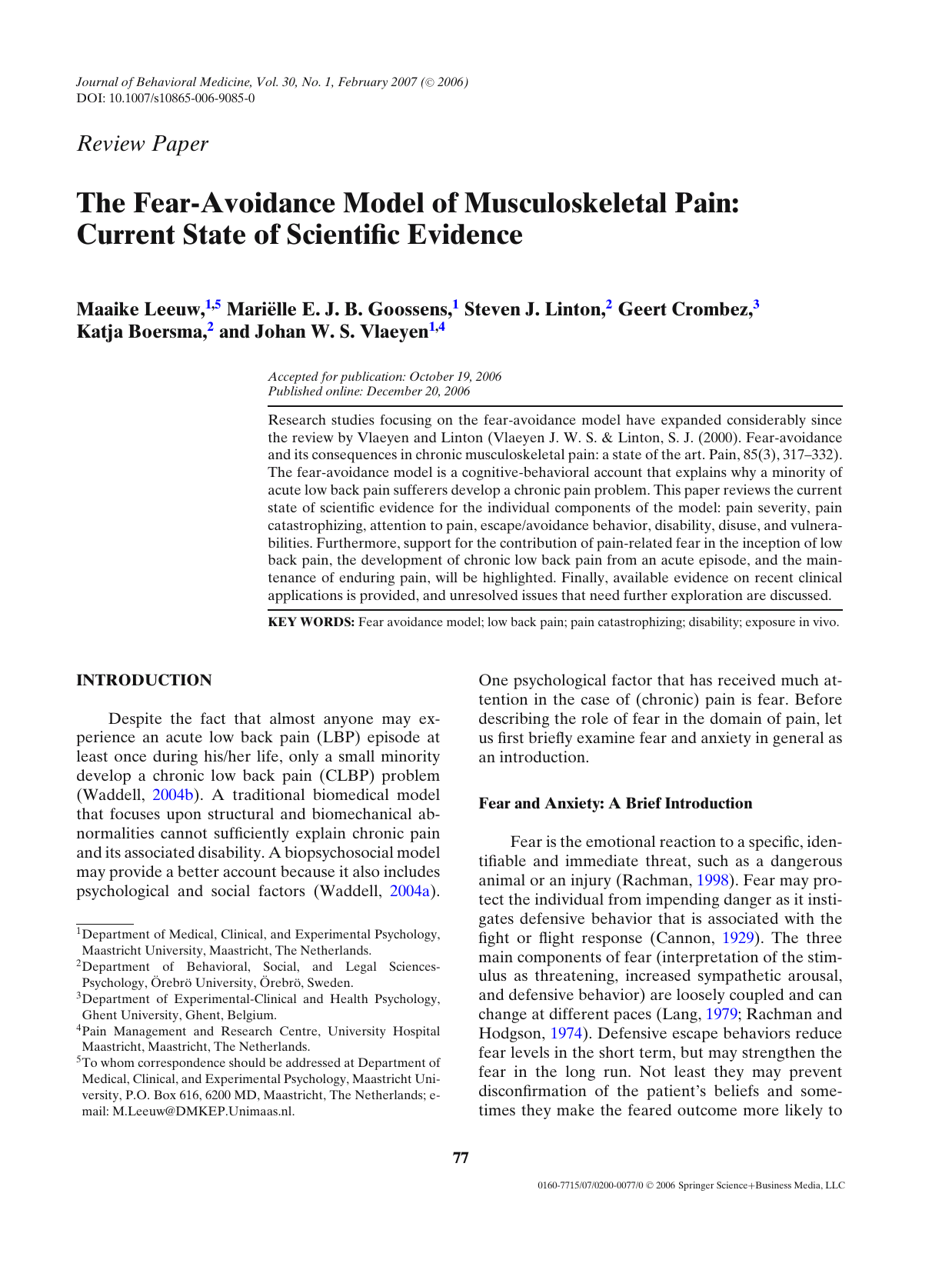 The Current State Of Scientific >> The Fear Avoidance Model Of Musculoskeletal Pain Current
