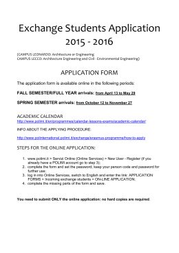 Exchange Students Application 2015 - 2016