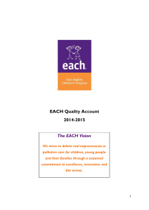 EACH Quality Account 2014-2015 The EACH Vision