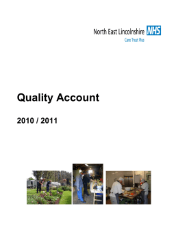 Quality Account 2010 / 2011