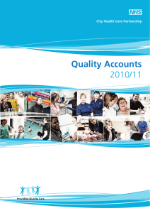 Quality Accounts 2010/11 City Health Care Partnership