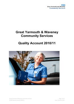 Great Yarmouth & Waveney Community Services Quality Account 2010/11
