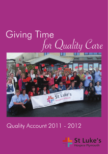 for Quality Care Giving Time Quality Account 2011 - 2012