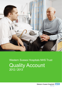 Quality Account 2012 / 2013 Western Sussex Hospitals NHS Trust