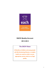 EACH Quality Account 2013-2014 The EACH Vision