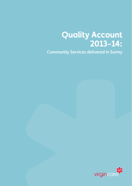 Quality Account 2013-14: Community Services delivered in Surrey