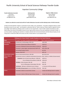 Pacific University School of Social Sciences Pathways Transfer Guide  Kapiolani Community College