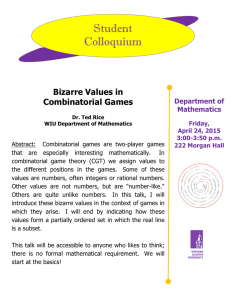 Student Colloquium Bizarre Values in Combinatorial Games
