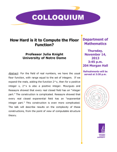 COLLOQUIUM  How Hard is it to Compute the Floor Function?