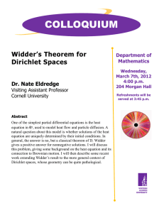 COLLOQUIUM Widder's Theorem for Dirichlet Spaces Dr. Nate Eldredge
