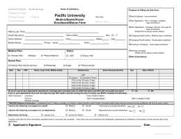 Pacific University Medical/Dental/Vision Enrollment/Waiver Form