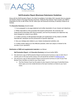 Self-Evaluation Report (Business) Submission Guidelines