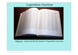 Logarithmic Functions Objective:  Graph and find the domain of logarithmic functions. Title: Jan 11­4:01 PM (1 of 10)