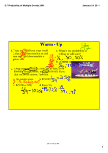 Warm ­ Up a. 1. What is the probability of