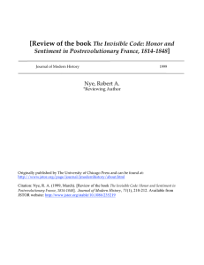 [Review of the book ] The Invisible Code: Honor and