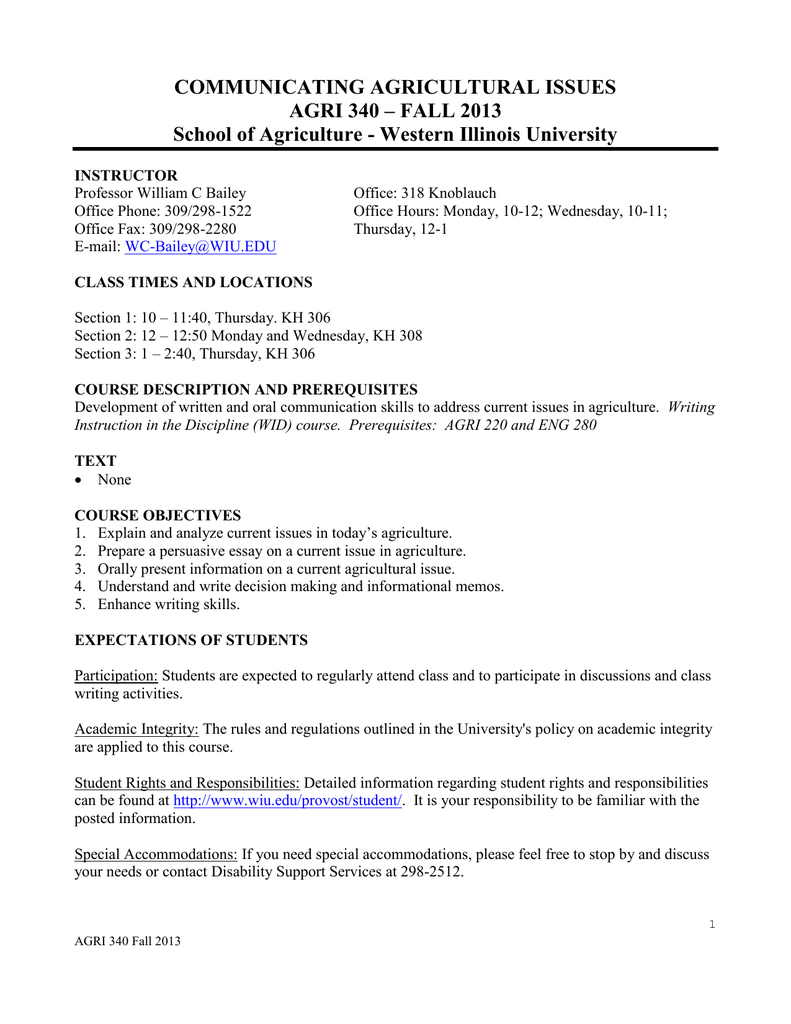 Communicating Agricultural Issues Agri   Fall   Importance Of English Language Essay also Types Of English Essays  Apa Format Sample Paper Essay