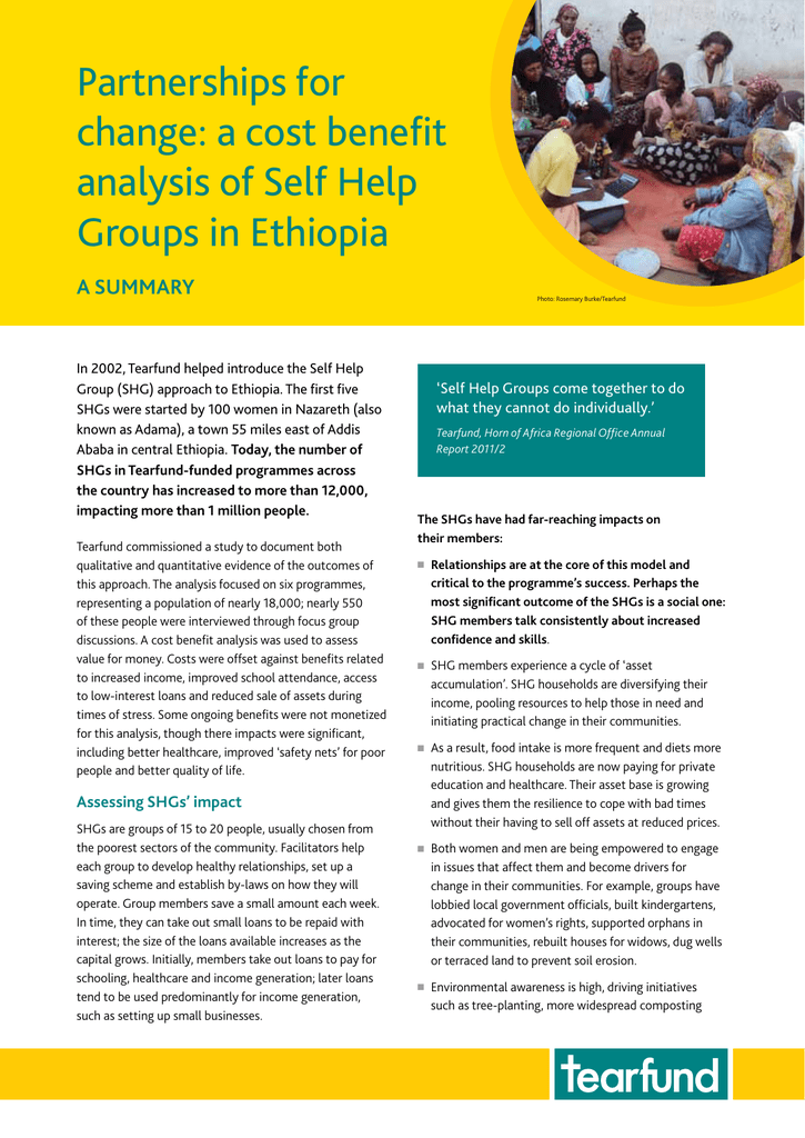 Partnerships For Change A Cost Benefit Analysis Of Self Help Groups In Ethiopia