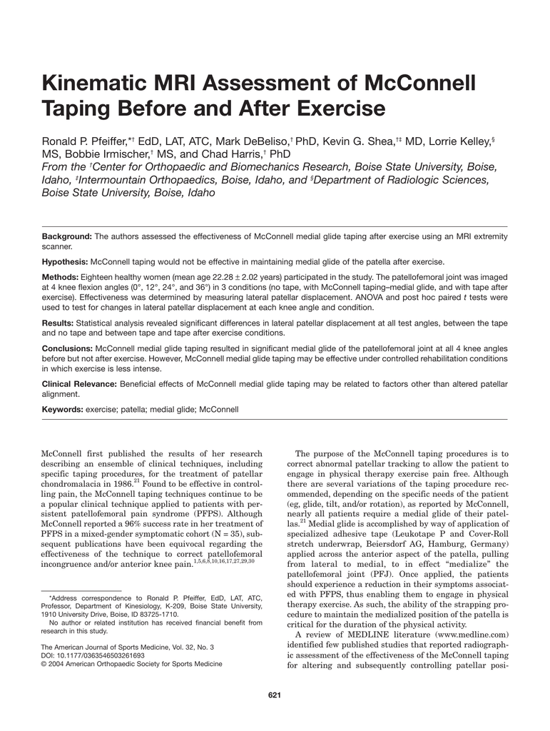 Kinematic Mri Assessment Of Mcconnell Taping Before And After