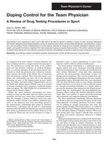 Doping Control for the Team Physician