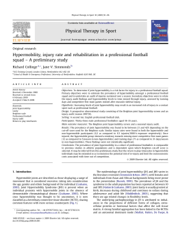 Hypermobility, injury rate and rehabilitation in a professional football Richard Collinge