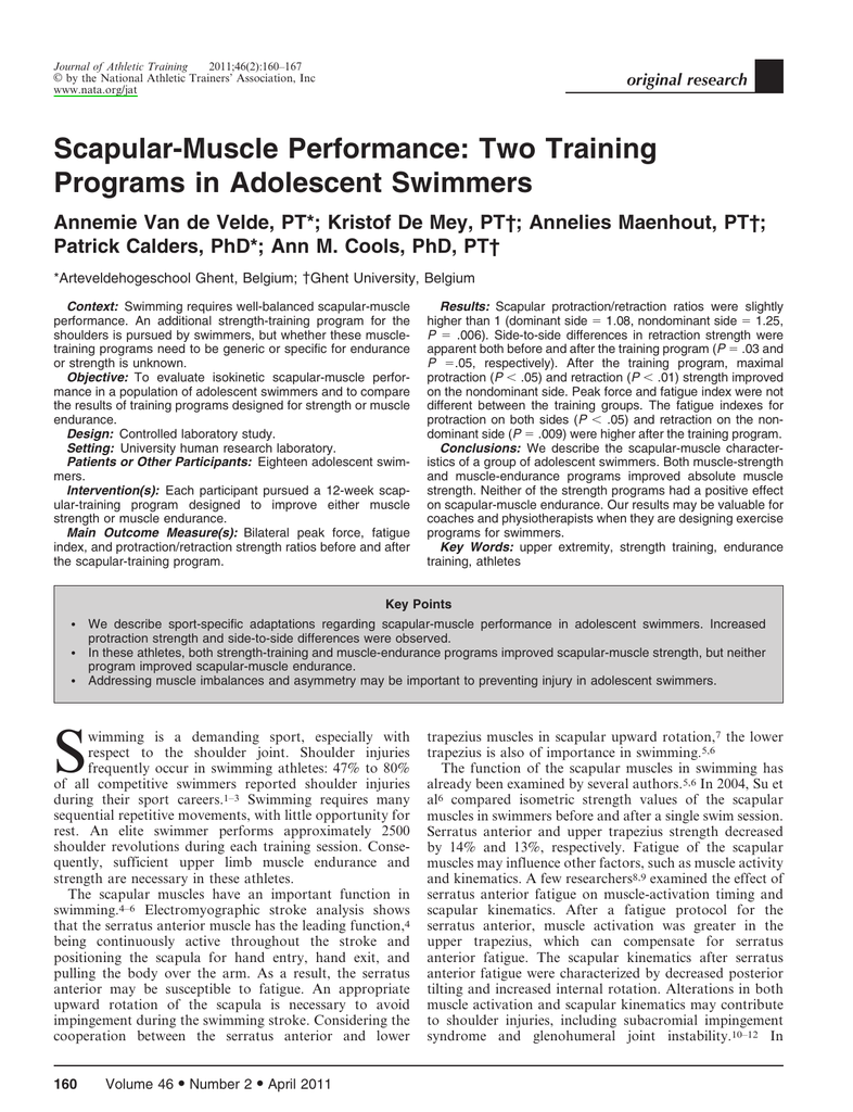 Scapular-Muscle Performance: Two Training Programs in