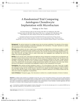 A Randomized Trial Comparing Autologous Chondrocyte Implantation with Microfracture 2105