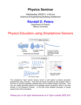 Physics Seminar Randall D. Peters  Physics Education using Smartphone Sensors