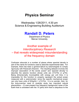 Physics Seminar  Randall D. Peters Another example of