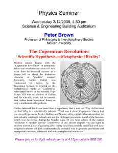 Physics Seminar Peter Brown  The Copernican Revolution: